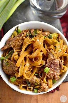 Mongolian Beef Noodle Bowls taste just like take out swapping rice for chewy…