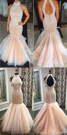 mermaid prom dress 2017, long prom dress 2017, 2017 prom dress, peach prom dress with pearls