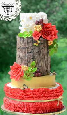 Exotic Garden Themed Wedding Cake <3 <3 <3  by khushi - http://cakesdecor.com/cakes/254284-exotic-garden-themed-wedding-cake-3-3-3