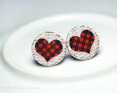 Checkered Hearts Post Earrings Christmas Jewelry red white, from MADEbyMADA www.madebymada.etsy.com