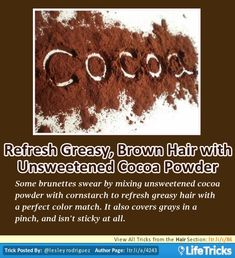 Hair - Refresh Greasy, Brown Hair with Unsweetened Cocoa Powder