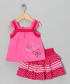 Take a look at this Pink Butterfly Tank & Skirt - Infant, Toddler & Girls by Littoe Potatoes on #zulily today!
