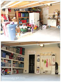 A little bit of paint, some book cases, and a touch of planning give this garage a face lift on a small budget.