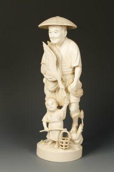 japanese okimono | LARGE JAPANESE IVORY OKIMONO OF A MAN AND BOY, the ad : Lot 419