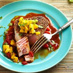Crusted Tuna with Chile-Tomato Adobo and Spicy Mango