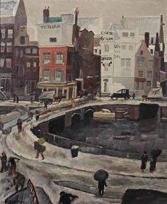 Jan Sluijters - Gezicht op het Rokin te Amsterdam met inkijk in de Langebrugsteeg (1930)