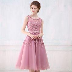 Robe De Soirée Rosa de Encaje Corto Vestidos de Noche Bordado con Cuentas Sin Respaldo Perspectiva Moda Novia Del Partido de Baile Vestido Formal