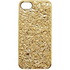 Marc by Marc Jacobs Gold Crinkled Foil iPhone 5 Case ($15) ❤ liked on Polyvore featuring accessories, tech accessories, phone cases, phones, electronics, fillers and marc by marc jacobs
