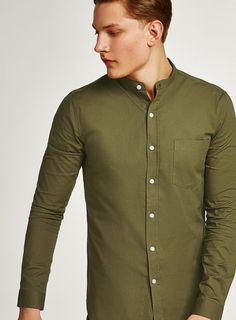fd79c3084 Khaki Muscle Fit Stand Collar Oxford Shirt Collar Shirts, Oxford, Ss, Muscle ,