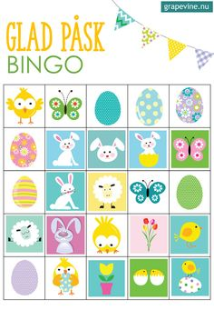 Ladda hem påskbingo med 12 bingoplattor. Gratis!  #påsk #påskpyssel #påskpysselbarn #påsklekar #gratis #bingo