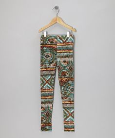 Olive & Aqua Abstract Leggings, by Shylo on #zulily