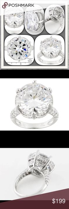 """Nwt/Bella Luce 16.33ctw Rhodium over SS Ring Nwt/Bella Luce/""""Princess Di""""/16.33ctw Rhodium Over SS Ring/Bella Luce/White Diamond Simulant  Round Cut/Rhodium Over SS/Measures Approx 5/8""""LX 1/8""""W/NOTE: IS Not Sizable/""""Princess Di"""" Bella Luce from Italian meaning""""Beautiful Light""""most dazzling man-made gemstone/This ring is made 4 us gals on a beer budget, but want the Hollywood Kardashian-Look! This ring fits the bill! Over 16.33ctw Stone(Diamond=Wght 13.44ctw)Rhodium Plating over SS! Get ur…"""