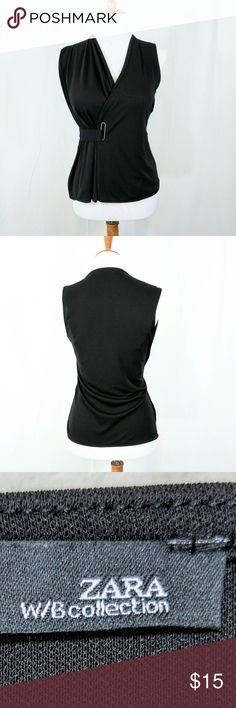 Zara Black Sleeveless Blouse w/Cinched Detail Zara Black Sleeveless Blouse Cute side belt cinch detail (built in) Slit up one side Size S Like new.  Worn only a few times Zara Tops Blouses