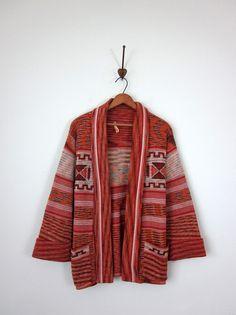 70s wrap sweater / southwest knit cardigan