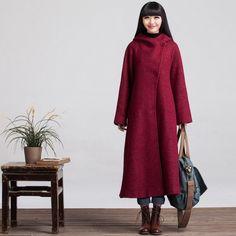 Long Sleeved Wool Winter Coat Jacket for Women by deboy2000