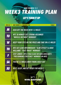 Week three training plan. Get one week closer to the finish line with our half marathon training plan. #letsturnitup #training #nike
