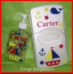 Personalized Diaper Wipe Case and Sanitizer by VinylEloquence, $18.00