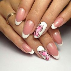 French manicure, pink butterfly