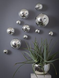 WALL SPHERES - SILVER ~ Set of 11 Our Interior Design Specialists are here to help you design your perfect room, whether you are looking for Country Decor, Modern Decor, Coastal Decor or Art Decor. We specialize in Interior Design Kitchen Silver Wall Decor, Silver Walls, 3 Mirror Wall Decor, Mirror Ideas, Spiegel Design, Art Decor, Room Decor, Decorative Spheres, Balloon Garland