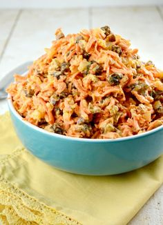 Carrot Salad loaded with Fresh Carrots Grated with pineapple, raisins, coconut, and pecans and some other goodies on Gonna Want Seconds July 1 2014