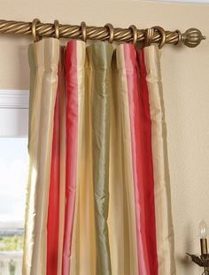 Red Green Gold Striped Silk Curtains