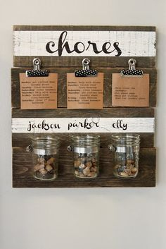 DIY Chore Reward System: Follow The Winthrop Chronicless tutorial for creating a completely DIY pebble-based chore reward system. It not only gets the job done, but also looks great doing it! Source: The Winthrop Chronicles