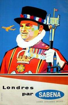 1950s.To London with Sabena, 1950s - original vintage poster by Gaston van den Eynde listed.17