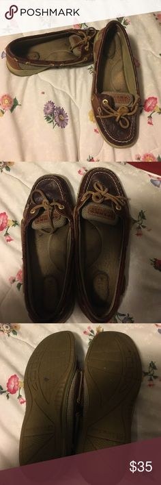 Sperry Top-Sider Anchor imprinted These are some amazing shoes I had them for a year and they still have a lot of life left in them. The soles of the shoe are worn but they still have cushion left in them. Sperry Shoes Flats & Loafers
