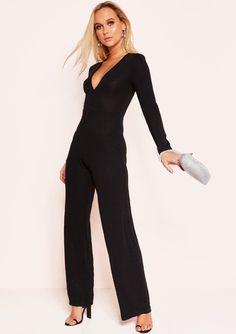 9d9ef07d590111 Missyempire - Marla Black Stitch Plunge Jumpsuit Silver Strappy Heels