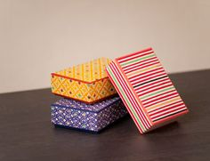 Katazome Japanese paper boxes