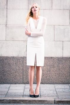 Fitted V Dress - White Brocade | Emerson Fry
