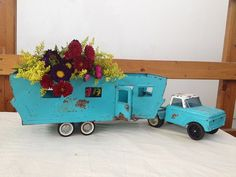 Vintage aqua Blue Toy Truck Xtra Lg Great gift by AquaBombVintage, $95.00