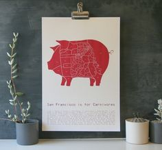 San Francisco is for Carnivores - Pig Neighborhood Map poster from Drywell Art for $30.00 San Francisco Neighborhoods, Illustrations, Frame Shop, Cute Baby Animals, Graphic Design Inspiration, Print Design, The Neighbourhood, How To Draw Hands, Etsy