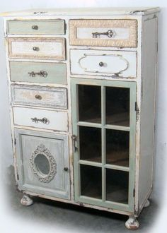 I think it would be pretty to have kitchen cabinets done this way. So shabby