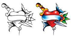 due disegni di tatuaggio cuore in bianco e nero e a coloari con un pugnale, fiori e pergamena