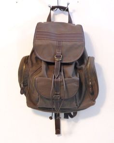 Brown Canvas Backpack Rucksack Tablet Laptop School Bag Unused Large #Unbranded #Backpack