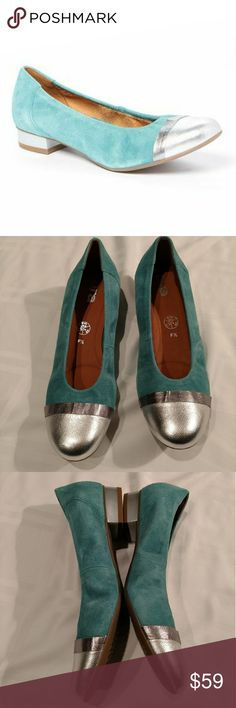 ara Pale Blue And Silver Metallic Beth Suede Pump Fancy, beautiful, and comfortable light blue and silver flats. Suede and leather. They have never been worn. One tiny black dot on top of right shoe, shown in last photo. Otherwise new, unused condition. Ara Shoes Flats & Loafers