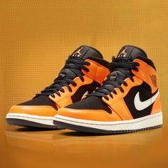 Never-dying Air Jordan 1 Mid! Jordans Sneakers, Air Jordans, Shoes Sneakers, Logo Jordan, Summer Special, Jordan 1 Mid, Nike Outfits, Orange, Nike Men