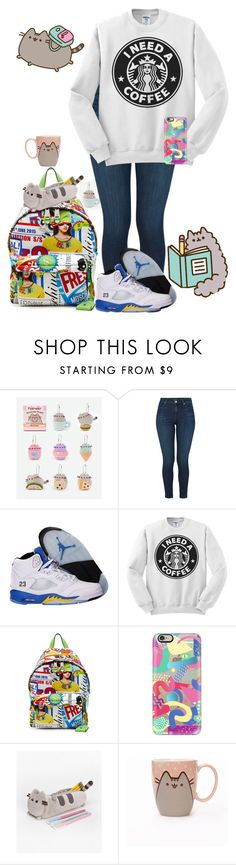 """""""Back to School With Pusheen"""" by ffyspi ❤ liked on Polyvore featuring Pusheen, J Brand, NIKE, Moschino, Casetify, contestentry and PVxPusheen"""