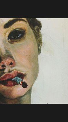 Portrait with cigarette, painting Inspiration Art, Art Inspo, Gcse Art, Oeuvre D'art, Painting & Drawing, Smoke Drawing, Smoke Art, Smoke Painting, Drawing Eyes
