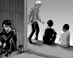 Levi hears Armin's dream Armin, Mikasa, Eren E Levi, Attack On Titan Fanart, Attack On Titan Levi, Levi Ackerman, Titan Manga, Anime Guys, Manga Anime