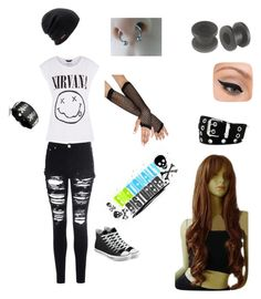 """Nice Nirvana Outfit"" by andleigh on Polyvore featuring Converse, Glamorous, Bling Jewelry, Coal, LORAC, Relic and Love Quotes Scarves"