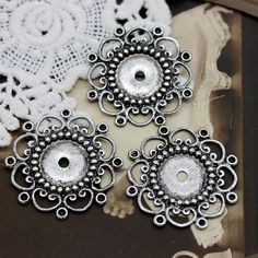 Antiqued Silver plated RAW brass Filigree Jewelry Connectors Setting Cab Base Connector Finding