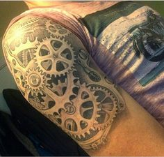 Steampunk Cogs Tattoo - http://steamp.co/d/1946 #inked #tatuaje #tattooart #steampunk #steampunktattoo #mecanictattoo #gearstattoo #mecanic #gears #steampunk