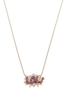 Lol Necklace In 18K Rose Gold, Diamond And Pink Sapphire by Diane Kordas for Preorder on Moda Operandi