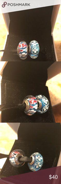 2 Murano Pandora Charms NWOT. Sterling silver s925 ale  No box Pandora Jewelry Bracelets