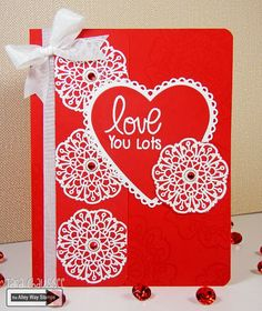 Valentines Day card stamped with Flower Doodles! Secretbees Studio: Love You Lots!