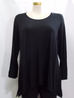 Hearstring - Long Sleeve Black Stripe Symmetrical Swing Tunic with Front & Back Seam