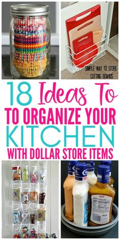 18 Genius Kitchen Organizing Ideas From The Dollar Store - Organization Obsessed 18 Ideas To Organize Your Kitchen With Items From The Dollar Store. These budget friendly organizing ideas are brilliant for organizing your kitchen on a budget! Diy Kitchen Storage, Diy Kitchen Decor, Kitchen On A Budget, Diy Home Decor, Kitchen Hacks, Kitchen Ideas, Kitchen Design, Decor Crafts, Diy Crafts