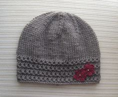 instant download knitting pattern taupe hat with crochet flowers in size adult